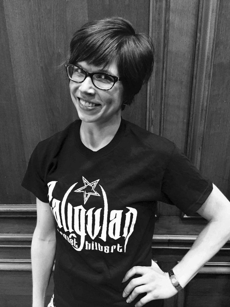 Designer Jennifer Mercer styles the shirt she designed for the book.