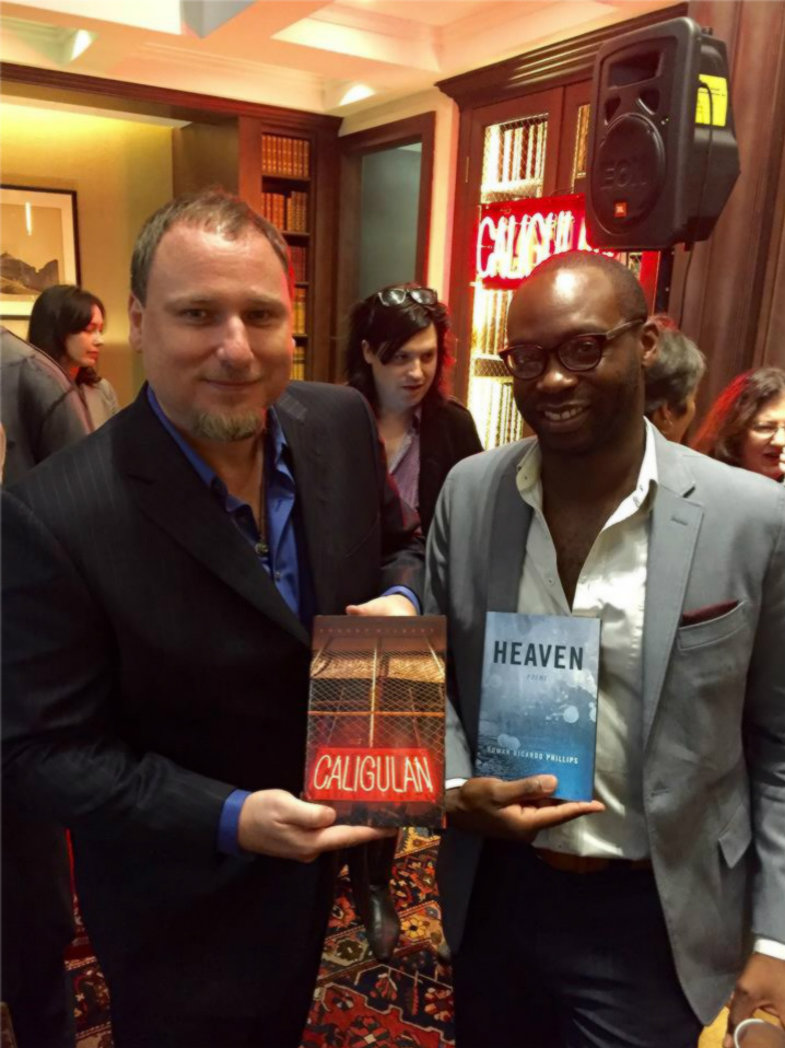 Hilbert with Rowan Ricardo Phillips, who introduced Hilbert at the New York City launch for Caligulan.